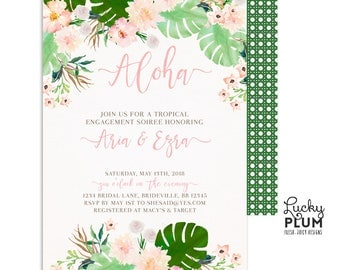 Tropical Engagement Invitation / Tropical Couples Shower Invitation / Luau Engagement Invitation / Luau Couples Shower Invitation / Aloha