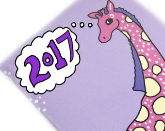2017 planner - cute Giraffe - purple and pink 2017 calendar - pocket planner - date book - weekly planner office gift