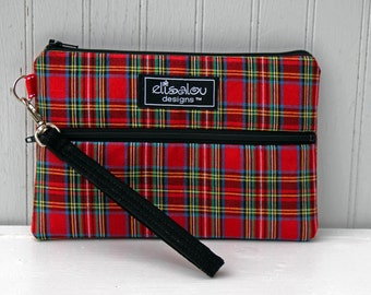 Padded Wristlet Mini Purse- Red Plaid