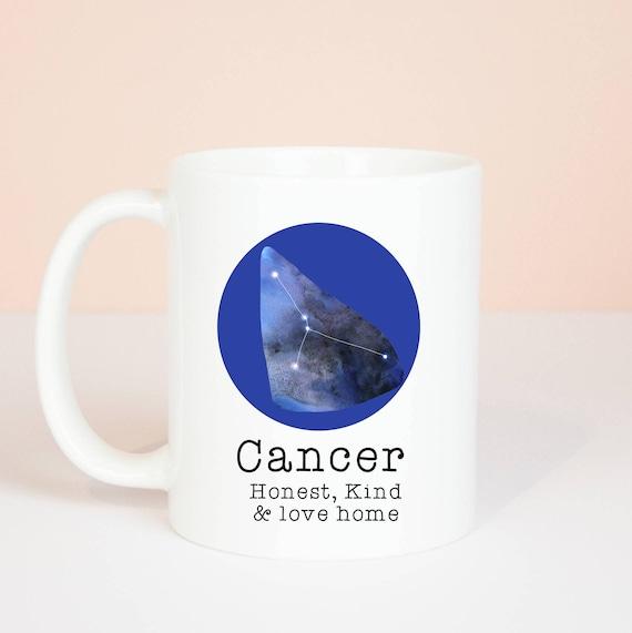 Cancer mug, Personalised back, lovely star sign Cancer mug, June 21 to July 23
