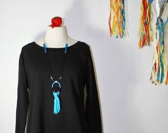 WOV hand woven unisex necklace, fiber lucite rubber, blue silver black, modern tribal minimalist - bold and beautiful statement jewelry