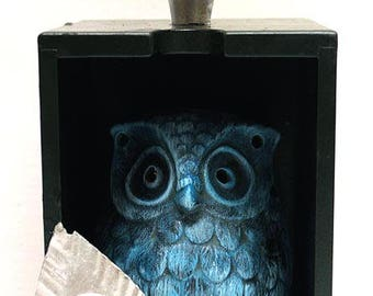 Blue, Owl, Chrome Accents,  Assemblage Art, Mixed Media, Recycled Art, Home Decor, Gift, Office Art, Winjimir, Owl, Bird Art, Whimsical Art.