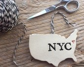 New York NYC Pottery Ornament - 2-3 weeks for delivery