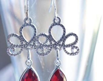 Imperial - Garnet Silver Filigree Statement Earrings