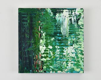 "ORIGINAL 12x12"" Abstract Painting on canvas mounted to a wood panel by artist Lisa Carney, Emerald Green Modern Decor, Colorful Wall Art"