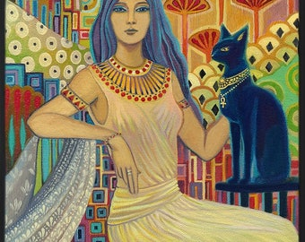 Bast Egyptian Cat Goddess Art Deco 20x24 Poster Print Pagan Mythology Psychedelic Gypsy Goddess Art