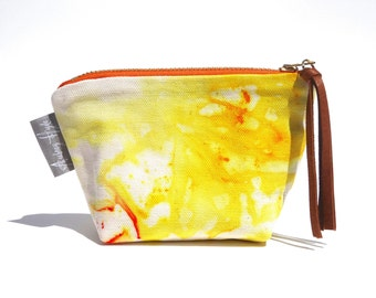 Valencia Hand Dyed Small Organic Cotton Coin Zipper Pouch Leather Tassel