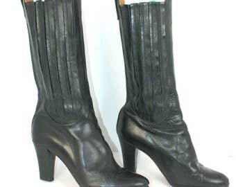 Vtg 80s Black pleated accordion leather mid calf heeled boots sz 7 narrow