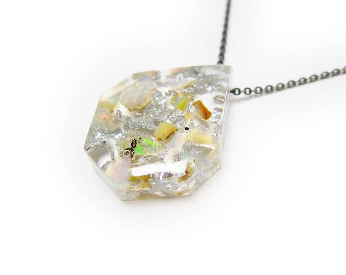 Medium Opal Fragment and Silver Leaf Eco-Resin Raw Stone Necklace