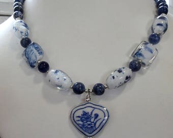 Blue & White Statement Necklace with Heart Pendant