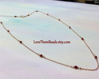 14k Rose Gold Satellite Chain Necklace, Carnelian, Beaded, Real, Solid, Gold Cable Layer Chain, Light Weight Chain by LoveThemBeads