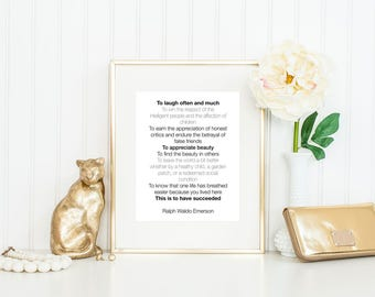 Ralph Waldo Emerson Quote / To Laugh Often and Much / Emerson Print / Literary Quote Print / Black and White Print / Retirement Gift