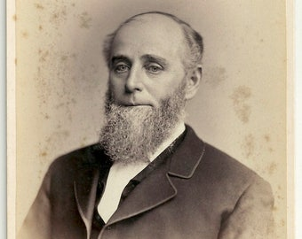 Philadelphia beard man Trask Chestnut St. facial hair gray cabinet card vintage photo