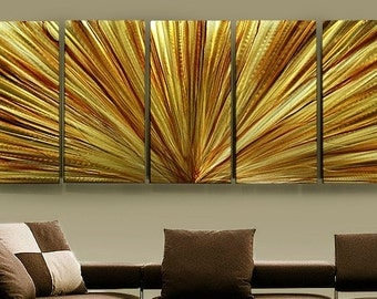 Large Multi Panel Metal Wall Art in Gold & Amber, Multi Panel Contemporary Wall Sculpture, Abstract Wall Decor - Amber Rays XL by Jon Allen