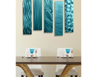 SALE! Multi Panel Metal Wall Art In Aqua Blue, Set of 5, Contemporary Wall Accent, Abstract Home Decor - 5 Easy Pieces Aqua by Jon Allen