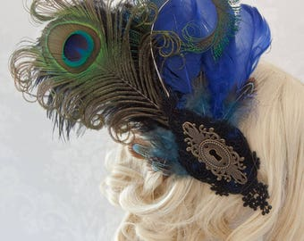 Taffeta Fascinator with keyhole embellishment - Ready to Ship