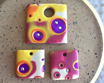 Set of 3 pieces, 2 Charms and 1 Pendant, polymer clay, jewelry components, jewelry supplies, plum, yellow, purple, off white, silver studs