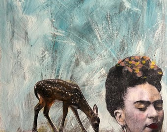 Frida with deer and cactus unique mixed media acrylic large painting