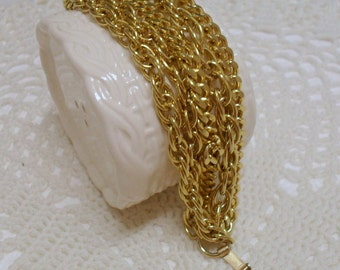 Vintage Marino Multi Strand Chain Link Bracelet Gold Tone 7 inches