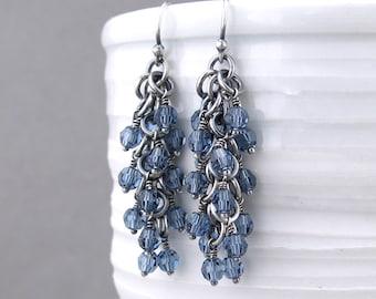 Dark Blue Earrings Dangling Earrings Blue Crystal Earrings Silver Jewelry Beaded Earrings Beaded Jewelry Crystal Jewelry - Shaggy Loops