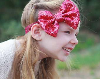 Hot Pink Bow Sequin Headband - Sequin Bow Headband - Hot Pink Sequin Bow - Hot Pink Sequins - Sequin Headband