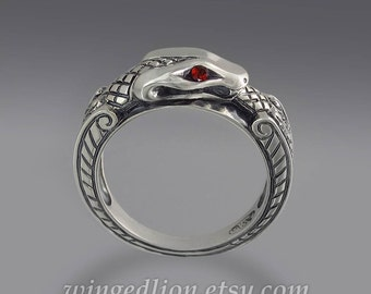 OUROBOROS silver mens unisex Snake ring with Garnet eyes