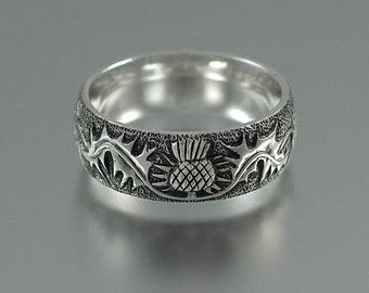 THISTLE silver mens unisex band