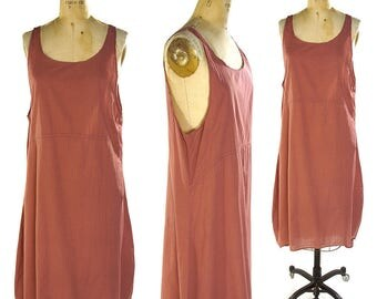 90s Minimalist Cotton Parachute Dress / Vintage 1990s Bohemian Artsy Hippie Long Indian Mauve Trapeze Sundress