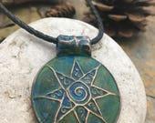 Celtic Sun Spiral, Pagan Jewelry, Wicca, Copper Sun Pendant, Star Pendant, Copper Patina, Sun Necklace, Irish Celtic Jewelry, Sun Necklace,