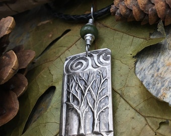 Two Trees Pendant Fine Silver, Two Trees Necklace, Tree of Life Jewelry, Irish Celtic Jewelry, Sacred Celtic Trees, Spirals, Silver Trees