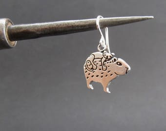 Sterling Silver Cat and Capybara Earrings