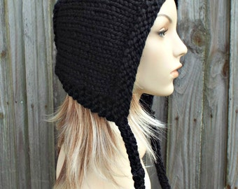 Black Knit Hat - Aviator Adult Bonnet - Hood with Ties - Womens Winter Hat - READY TO SHIP