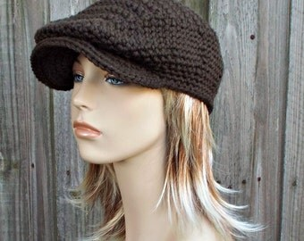 Dark Chocolate Brown Crochet Golf Hat - Womens or Mens Newsboy Flat Cap