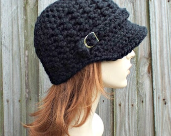 Womens Chunky Crochet Black Newsboy Hat - Jockey Cap Visor Beanie with Buckle