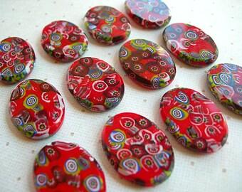Vintage Millefiori Cabochons Red Ovals 18mm x 25mm lot of 4 Czech Glass flat backs