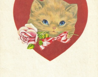 Cute Valentines Gift, OOAK Unique Valentines Day Art, Pussy Cat Kitsch, Retro Vinatge, Sweet Kitty Artwork, One of a Kind Original Collage
