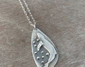 humpback whale necklace - sterling silver - ocean necklace