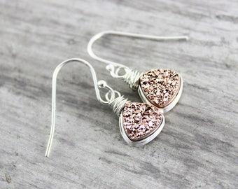 Small Druzy Earrings, Rose Gold Earrings, Sterling Silver Earrings, Dainty Silver Earrings, Silver Drop Earrings, Druzy Silver Earrings