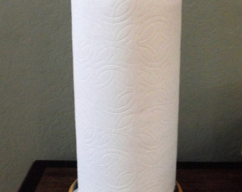 Whimsical Paper Towel Holder Black and White Checks Handpainted - Inspired
