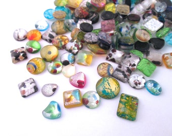 Assorted Dichroic Glass Crackle Cabochons, Metallic Foil Cracked Glass Cabochons