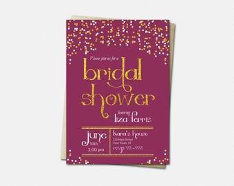 Bridal Shower Invitation - Wedding Shower Invitation - Bridal Party Invitation - Color Choice - Polka Dots and Gold Bridal Shower Invitation