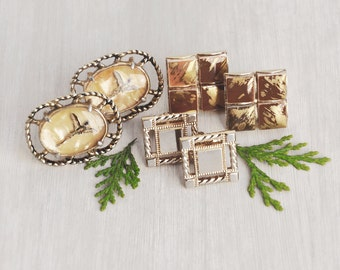 3 Vintage 1970s Cufflinks Lot - big reverse painted glass pheasants,  brown ceramic tile and gold squares