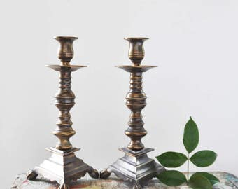 """Vintage Heavy Brass Candlesticks - pair of dark oxidized candle holders with triangular bases - 10 5/8"""" tall"""
