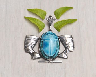 Vintage Sterling Silver Scarab Pendant - turquoise faience beetle double Nefertiti head - Egyptian souvenir