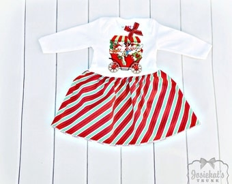 Girl Christmas Dress - Infant Christmas Dress - Retro Christmas Dress - Snowman Girl Dress - Size Newborn to 3T - Candy Stripe Dress Baby