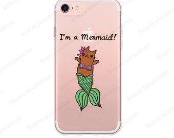 iPhone 6 Case Clear I'm a Mermaid Clear iPhone 7 Case Mermaid Cat MerKitty Mermaid iPhone Case Clear iPhone 7 Plus