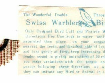 Vintage Swiss Warbler Bird Call or Prairie Whistle, made in Japan, new old stock