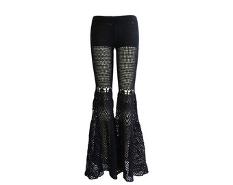 Made to Order - Lace Bell Bottoms in Black Peacock - Handmade Crochet Cotton Lace Pants / Flared Leggings - Free US Shipping