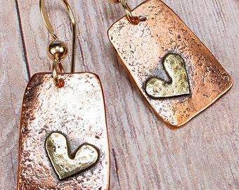 SIMPLE COUNTRY HEART - Rustic Copper Earrings With Hammered Brass Hearts, 14k Goldfill Earwires