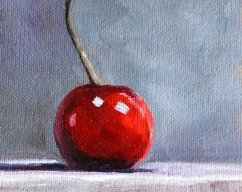 Cherry Fruit Painting, Small 4x6, Still Life Oil, Red Minimalist, Kitchen Wall Decor, Miniature Food Art, Little Tiny, Canvas Original